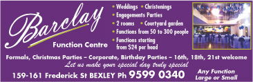 Barclay Function Centre,Weddings,Christenings,Engagements Bexley Ph:95990340